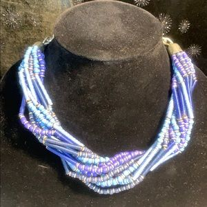 """Jewelry - 21"""" Multi-strand Hues of Blue Necklace"""